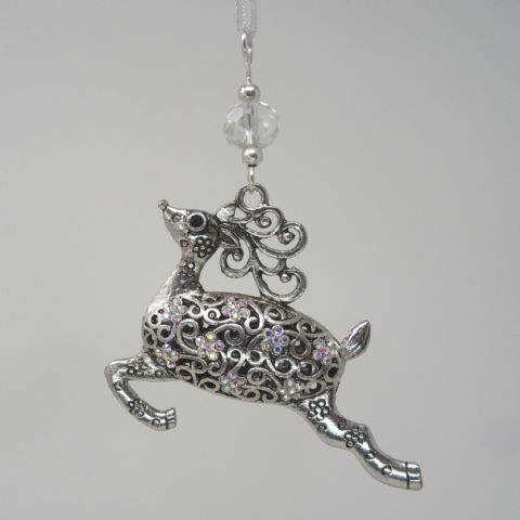 Silver Tone Reindeer with AB Rhinestones & Clear AB Bead - Xmas Tree Decoration